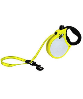 Alcott Visibility Retractable Reflective Belt Leash, 16' Long, Large for Dogs Up to 110 lbs, Neon Yellow with Reflective Accents