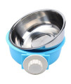 Ueetek Pet Hanging Cage Bowl Stainless Steel Dog Bowls 2 In 1 Small Animal Food Water Bowl (Blue)
