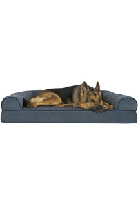Furhaven Pet Dog Bed | Orthopedic Faux Fleece & Chenille Soft Woven Sofa-Style Couch Pet Bed For Dogs & Cats, Orion Blue, Jumbo