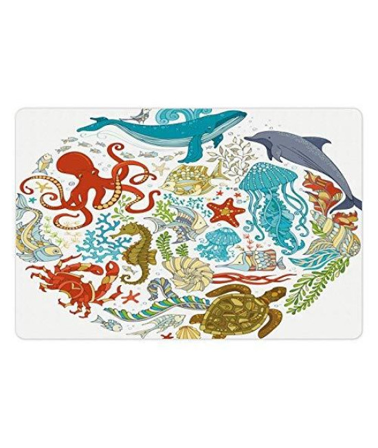 Lunarable Ocean Pet Mat For Food And Water, Fish Sealife Octopus Whales Dolphin Moss Starfish Turtle World Shaped Artwork Print, Rectangle Non-Slip Rubber Mat For Dogs And Cats, Multicolor