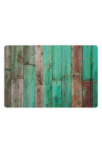 Lunarable Rustic Pet Mat For Food And Water, Stained Grunge Artistic Background With Distressed Piece Of Pine Stick Sapwood, Rectangle Non-Slip Rubber Mat For Dogs And Cats, Green Brown