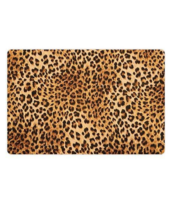 Lunarable Animal Print Pet Mat For Food And Water, Wild Animal Leopard Skin Pattern Wildlife Nature Inspired Modern Illustration, Rectangle Non-Slip Rubber Mat For Dogs And Cats, Sand Brown