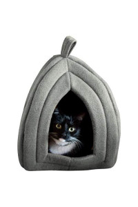 Cat Pet Bed, Igloo- Soft Indoor Enclosed Covered Tent/House For Cats, Kittens, And Small Pets With Removable Cushion Pad By Petmaker (Grey)