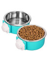 Imike Removable Stainless Steel Crate Dog Bowl, Pets Hanging Water Food Feeder Bowl Cage Coop Cup For Dogs, Cats, Birds, Small Animals - Blue