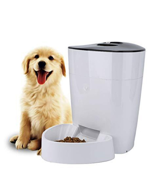 Fullosun Automatic Pet Feeder For Dogs, Cats & Pets, Food Dispenser - 4L Capacity- Portion Control - Programmable Timer Up To 6 Meals Per Day - White