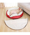 Townhouse Pet Plush Pet Bed Cave For Cats/Dogs And Small To Medium Size,Shredded Memory Foam,Top Cover Removable For Dual Use, Red, 25In