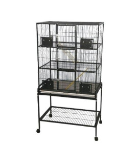 "32""x21"" - 3 Level Animal Cage with Removable Base 13221-SA Black"