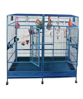"80""x40"" Double Macaw Cage with Divider 8040FL Platinum"