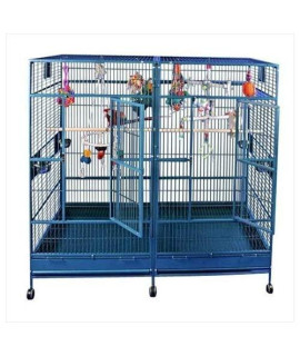 "80""x40"" Double Macaw Cage in Stainless Steel 8040FL Stainless Steel"