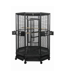 "52"" Diameter Octagon Parrot Cage, 1"" Bar Spacing OCT5252 Black"