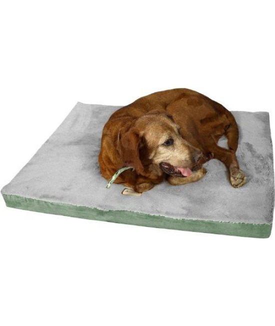 Armarkat Memory Foam Orthopedic Pet Bed Pad in Sage Green and Gray, 32-Inch by 24-Inch by 3-Inch