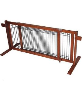 "Crown Pet Freestanding Wood/Wire Pet Gate, Rubberwood 21"" High -Large Span"