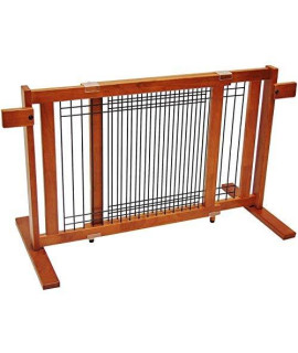 "Crown Pet Freestanding Wood/Wire Pet Gate, Rubberwood 21"" High -Small Span"