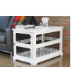 Slide Aside Crate And End Table, White, Medium