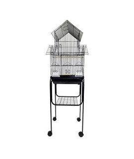 "YML 3/8"" Bar Spacing Pagoda Top Bird Cage with Black Stand, 16 x 16"", Black"