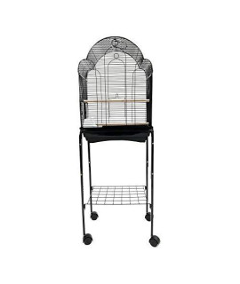YML 1704 Bar Spacing Shell Top Bird Cage black with stand