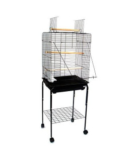 YML 20-Inch by 16-Inch Small Open Play Top Parrot Bird Cage, Black Includes 18x18 Stand