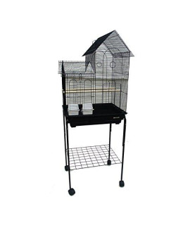 "YML 1/2"" Bar Spacing Villa Top Bird Cage with Stand, 20"" x 16""/Small, Black"