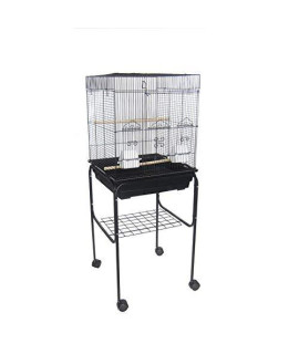 "YML 5824 3/8"" Bar Spacing Square Top Bird Cage with Stand, 18"" x 14""/Small, Black"