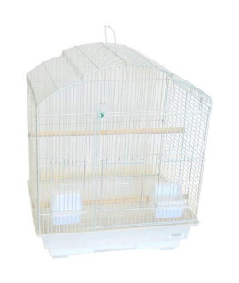 Yml 3/8-Inch Bar Spacing Shelltop Small Bird Cage, 18-Inch By 14-Inch, White