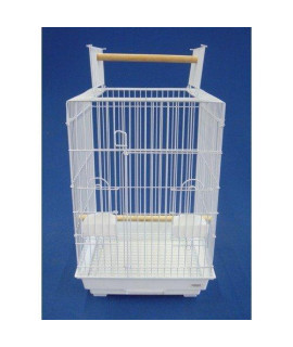 Yml 3/4-Inch Bar Spacing Open Top Small Parrot Cage, 18-Inch By 18 By 27-Inch, Top Closed, White