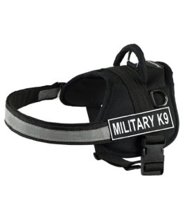 Dt Works Harness, Military-K9, Black/White, Small - Fits Girth Size: 25-Inch To 34-Inch