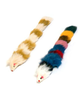 Set of Two Fur Weasel Toys (one Brown/White and one Multi-colored)
