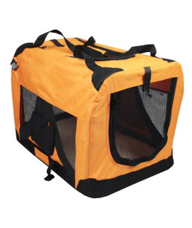 Iconic Pet - Versatile Pet Soft Crate with Fleece Mat - Orange - Small