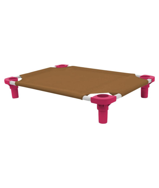 30x22 Pet Cot in Brown with Fuchsia Legs, Unassembled