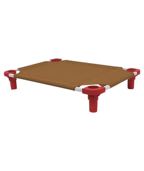 30x22 Pet Cot in Brown with Red Legs, Unassembled