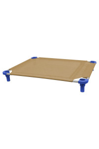 40x30 Pet Cot in Tan with Blue Legs, Unassembled