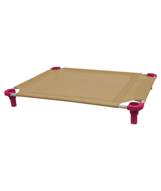 40x30 Pet Cot in Tan with Fuchsia Legs, Unassembled