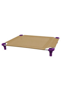 40x30 Pet Cot in Tan with Purple Legs, Unassembled