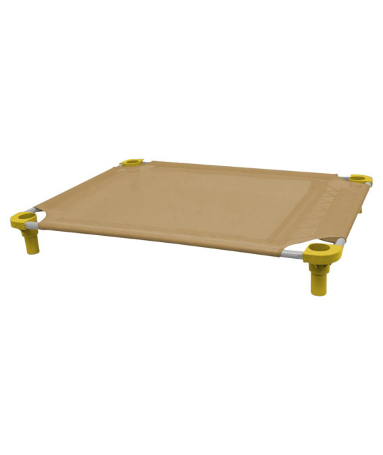 40x30 Pet Cot in Tan with Yellow Legs, Unassembled