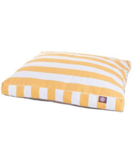 Yellow Vertical Stripe Large Rectangle Pet Bed