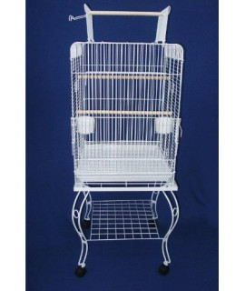 "24"" Open top Parrot Cage With Stand in White"