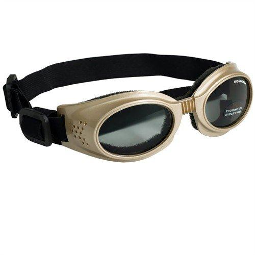 Doggles Originalz Small Frame Goggles for Dogs with Smoke Lens, Chrome
