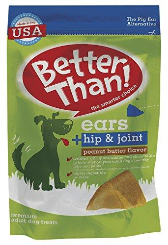 Better Than Ears Premium Dog Treats, Peanut Butter Flavor, 9-Count Pouch (Pack of 4)