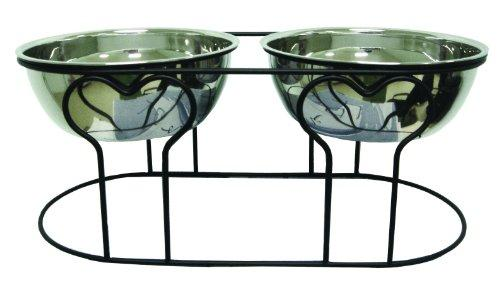 YML 7-Inch Wrought Iron Stand with Double Stainless Steel Feeder Bowls
