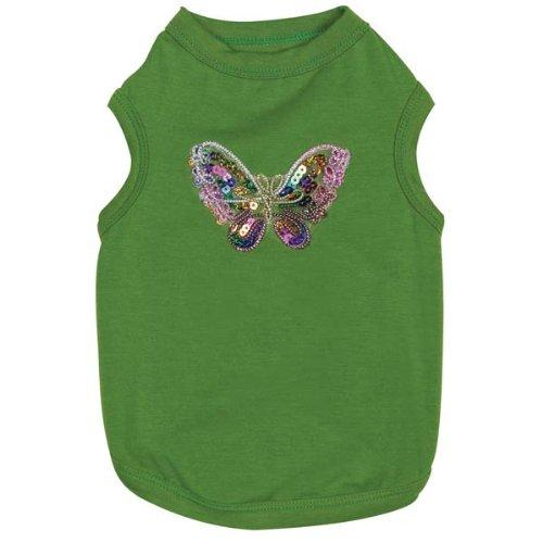 East Side Collection Polyester/Cotton Bedazzled Butterfly Dog Tank, Medium, 16-Inch, Green