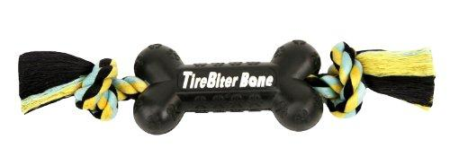 TireBiters Large Chew Toy Bone with Rope, Black, 16-Inch