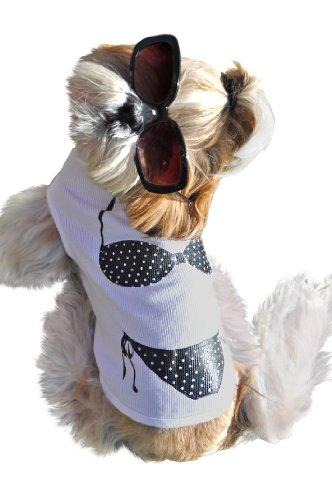 Ruff Ruff and Meow Dog Tank Top, Bikini, White, Large