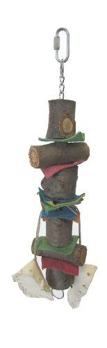YML Small Parrot Bird Toy 12-1/2-Inch with Rawhide