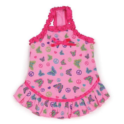 East Side Collection Cotton 6-Inch Butterfly Garden Dog Dress, Teacup, Pink