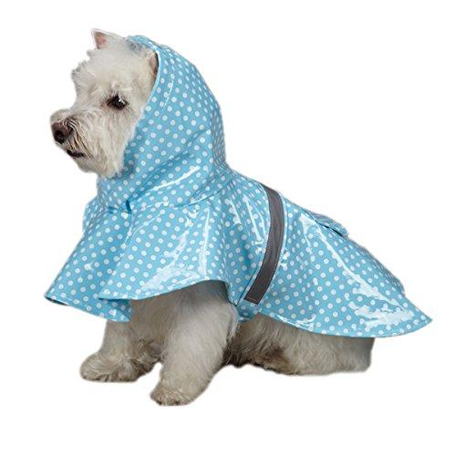 East Side Collection PU and Polyester Polka Dot Dog Rain Jacket, 16-Inch, Medium, Blue