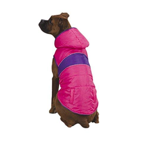 East Side Collection Polyester Brite Stripe Dog Parka, XX-Small, 8-Inch, Pink