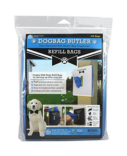 Doggie Walk Bags Dogbag Butler Refill Pouch, 140 Blue Bags