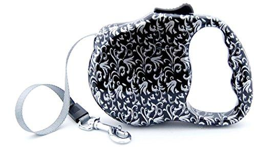 Bellus 10FT Retractable Dog Leash, Silver & Black Print Great for Small Dogs, up to 30lbs
