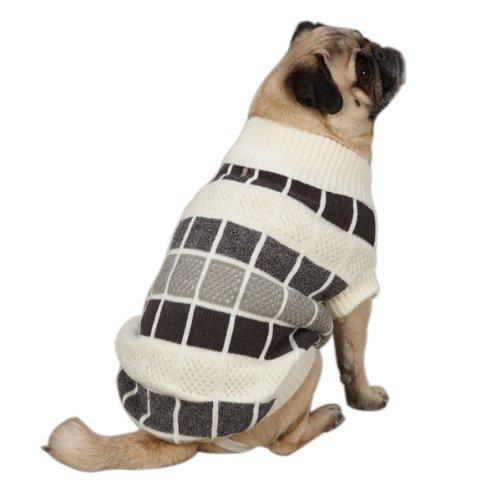 Casual Canine ZM023 08 23 Chenille Block Sweater for Dogs, XX-Small, Creme