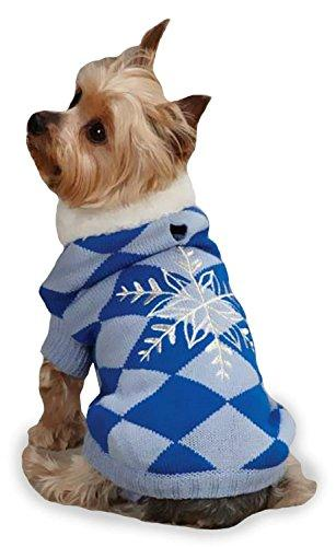East Side Collection Acrylic Snowflake Snuggler Dog Sweater, XX-Small, 8-Inch, Blue